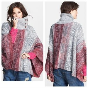 Free People Willow button neck sweater Poncho